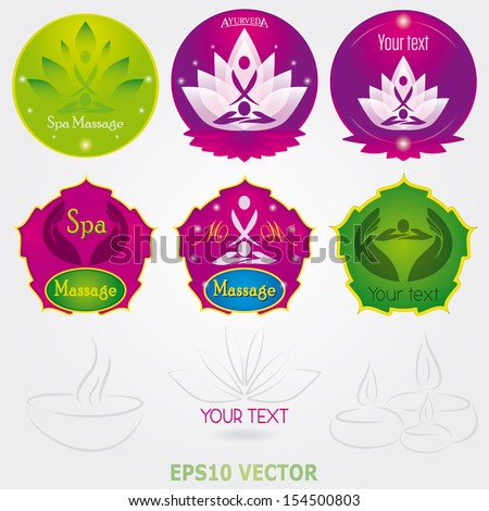 Spa massage Logo Set Vector beauty and yoga set