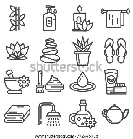 Spa massage therapy cosmetics icons. Vector Illustration.
