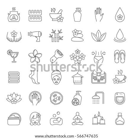 spa salon linear icons set....