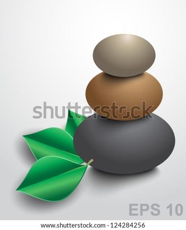 Spa stones with green leaves. Vector illustration