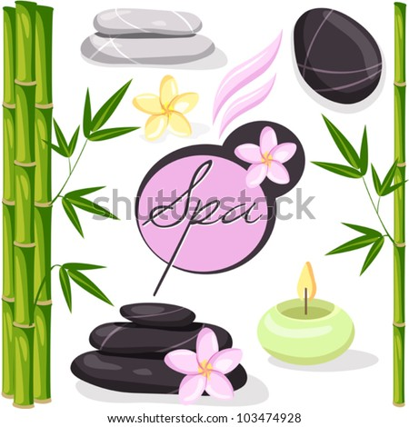 Spa vector set with flowers, bamboo, stones, candles. Can be used for advertisement spa salon, brochures, print design - stock vector