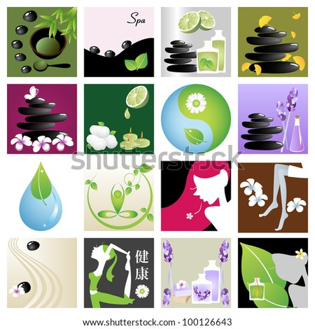 Spa & wellness graphic design elements for icons, logos & background. (Part 6)