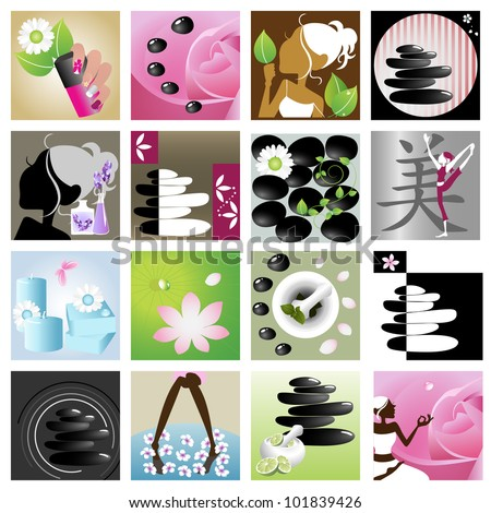 Spa & wellness graphic design elements for icons, logos & background. (Part 7)