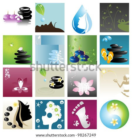 Spa & wellness graphic design elements for icons, logos & background. (Part 3)