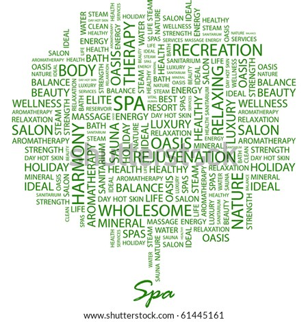 spa word collage on white