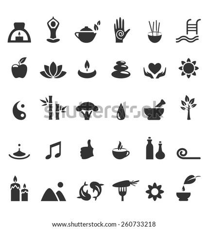 spa yoga zen flat icons