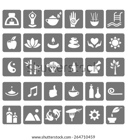 spa yoga zen flat icons
