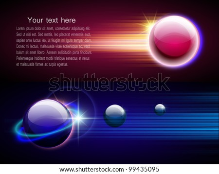 Space abstract background with motion glowing circles, spheres, planet and stars. Vector. Part of set.