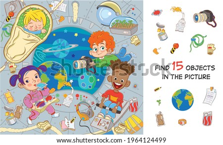 Space adventure. International children's crew on a spaceship in a state of zero gravity eat, sleep, take pictures, exercise. Find 15 objects in the picture. Hidden objects puzzle