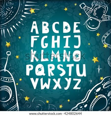 space alphabet cute cartoon