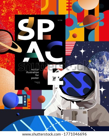 Space and astronaut banner template. Vector illustration of cosmonaut, Saturn, different planets, astronomy, stars, abstract bright design of galaxy universe. Drawings for poster, banner or postcard