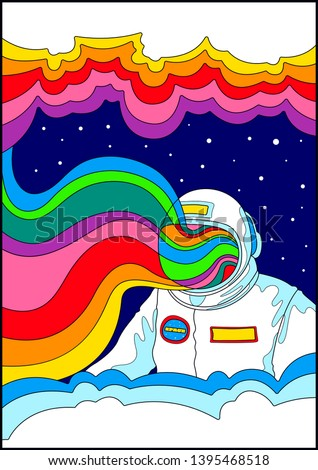115057fd1 Space and Astronaut Psychedelic Poster, 1960s Hippie Art Stylization