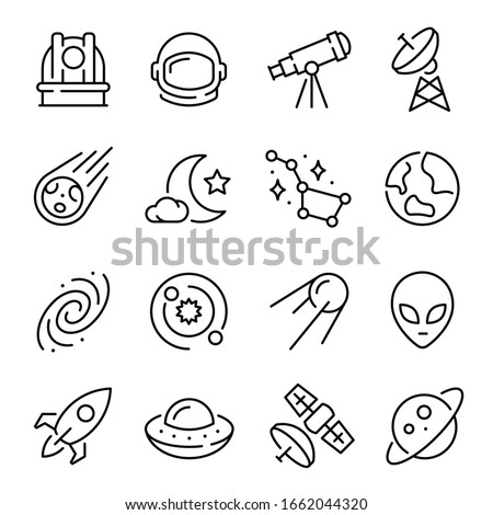 Space and astronomy line icons set - spacecraft, satellite, celestial bodies, solar system, galaxy, constellation, UFO or flying saucer, alien, observatory, telescope. Monochrome vector illustration.