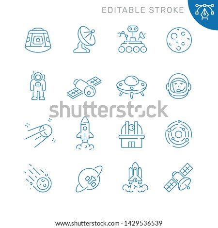 Space and astronomy related icons. Editable stroke. Thin vector icon set