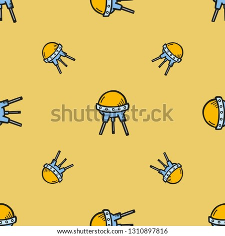 Space and astronomy. Repeating flat Sputnik 2 icon background pattern. Design for wrapping paper or greeting card.