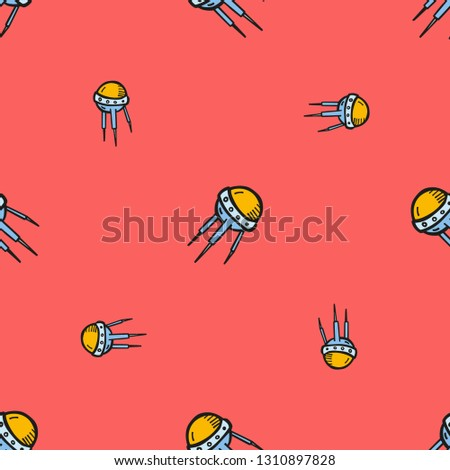 Space and astronomy. Repeating flat Sputnik 1 icon background pattern. Design for wrapping paper or greeting card.