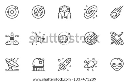 Space and Astronomy Vector Line Icons Set. Planets Of The Solar System, Stargazing, Observatory, Universe, Galaxy, Black Hole. Editable Stroke. 48x48 Pixel Perfect.
