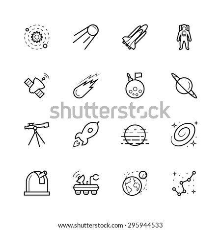 Space and cosmos icon set in outline style