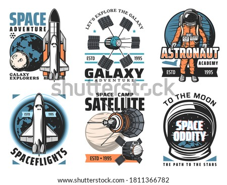 Space and planets exploration vector icons. Shuttle launch vehicle and orbiter with solar system platens, artificial satellites and orbital telescopes, astronaut in spacesuit retro illustrations Stockfoto ©