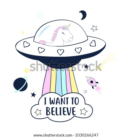 Space and unicorn, hand drawing illustration vector.
