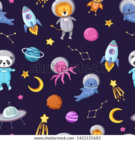 Space animals pattern. Cute baby animal astronauts flying kid pets cosmonauts funny spaceman boy seamless cosmos vector wallpaper. Illustration of astronaut spaceship, octopus and panda in space suit