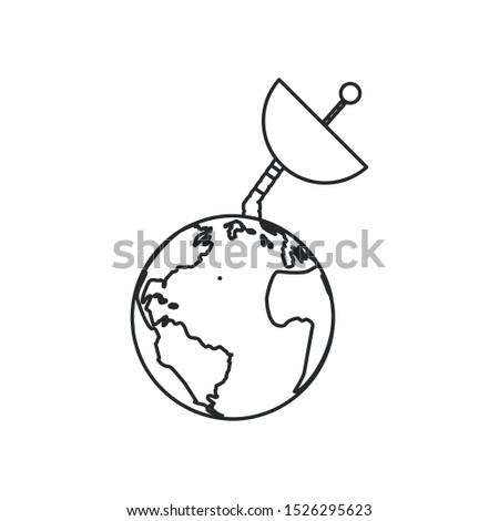space antenna in planet earth isolated icon vector illustration design