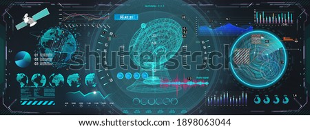 Space antenna with HUD interface display. Sci-fi dashboard with 3D objects - satellite, earth globe, antenna and Futuristic User Interface screens with HUD UI. Control center with hi-tech scanning Stock fotó ©