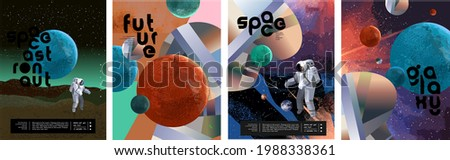 Space, astronaut and galaxy. Vector abstract illustrations of planets, mars, sky and geometric shapes. Drawings for poster, background and banner