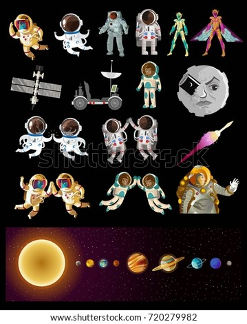 space astronauts and planets