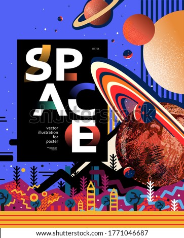 Space astronomy banner template. Vector illustration of Saturn, different planets, planetarium solar system, abstract bright design of the galaxy universe. Drawings for poster, banner or postcard