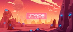 Space background, alien fantasy landscape with rocks and craters with blue liquid inside, orange planet empty surface, cloudy sky and falling comet, computer game backdrop, cartoon vector illustration