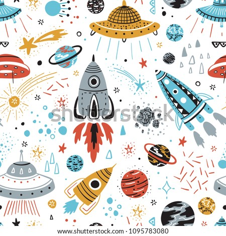 Space Background for Kids. Vector Seamless Pattern with Cartoon Rockets, Planets, Stars, Comets and UFOs.
