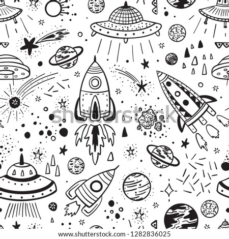 Space Background for Kids. Vector Seamless Pattern with Cartoon Rockets, Planets, Stars, Comets and UFOs