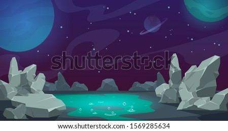 Space background. Game UI cartoon planet landscape, desert with rocks and stones. Vector abstract cartoon alien cosmic backdrop with fluid with bubbles, stars and clouds
