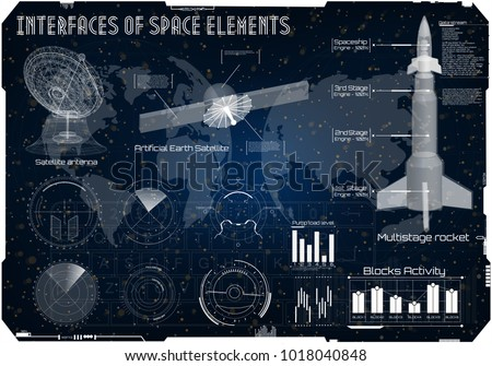 Space background HUD, space rocket of spacecraft Ui, rocket vehicles, space boxes, aircraft, radar, satellite antenna, space satellite. Sky-fi HUD. panels Futuristic User Interface Spaceship