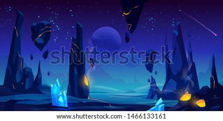 Space background, neon night alien fantasy landscape with flying rocks, crystals, falling meteor in dark starry sky, extraterrestrial craters full of glowing liquid lava, Cartoon vector illustration