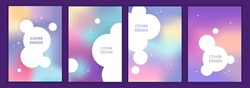 Space background. Place for text. Cute purple design. Set of abstract templates for banners, flyers, posters, cards, covers. Vertical banner design. Vector illustration. EPS 10. Northern Lights