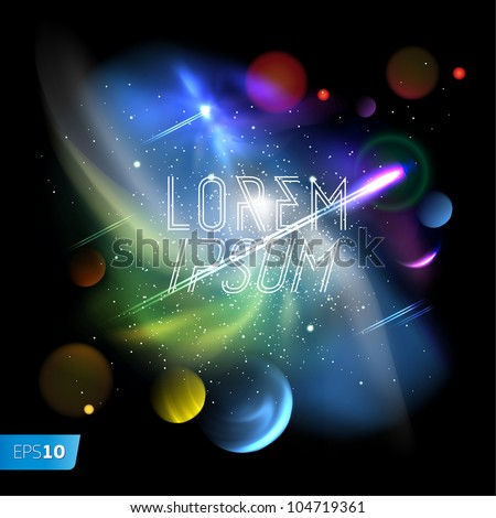 Space background,planet and bright stars in cosmos, vector Eps 10 illustration. - stock vector