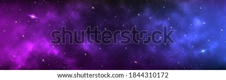Space background wide. Realistic cosmos with shining stars. Long banner with starry milky way. Magic stardust galaxy. Color universe and purple nebula. Vector illustration.
