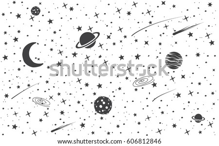 Space background with cosmic objects.Hand drawn vector illustration