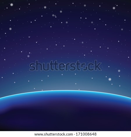Space background with dark planet (Vector illustration)