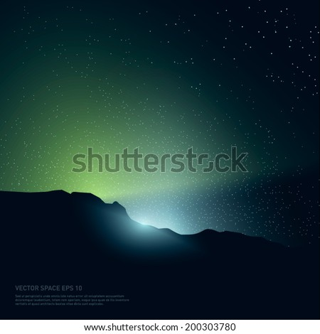 Space background with light and stars from behind of the rocks. Vector Illustration.