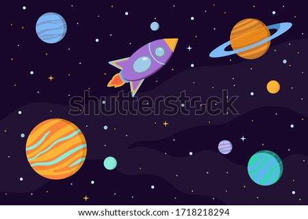 Space background with planets, moons, rocket and stars in cartoon style. Astronomy and cosmos exploration concept vector.