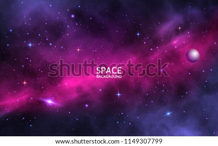 Space background with shining stars, stardust and nebula. Realistic cosmos. Colorful galaxy with milky way and planet. Vector illustration.