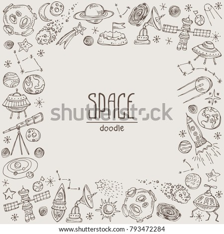 Space background with space rocket, satellite, planet, asteroid, spaceship, star, telescope, constellation, comet. Hand drawn vector doodles illustration