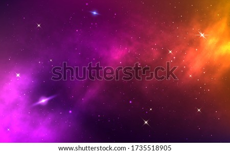 Space background. Yellow colorful galaxy. Realistic purple nebula with stardust and planet. Shining stars in cosmos. Futuristic backdrop for poster, brochure, banner. Vector Illustration.