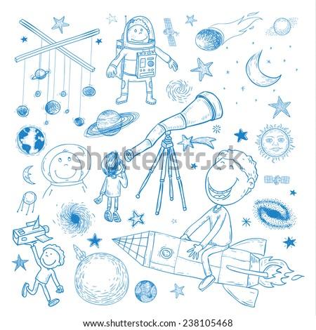 space boy set  hand drawn