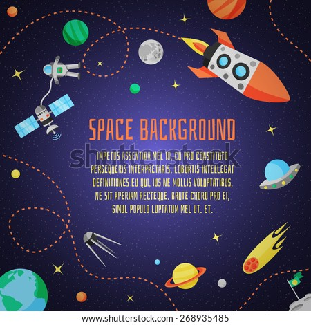 space cartoon background with