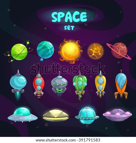 space cartoon icons set
