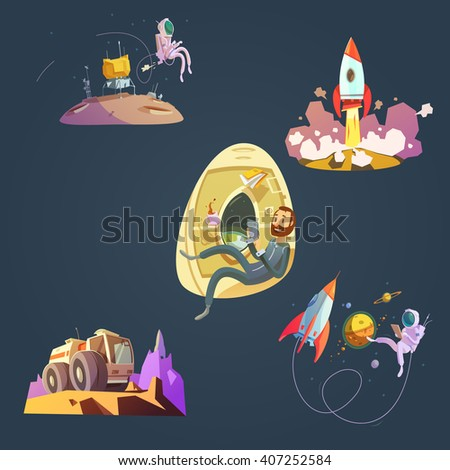 space cartoon set with